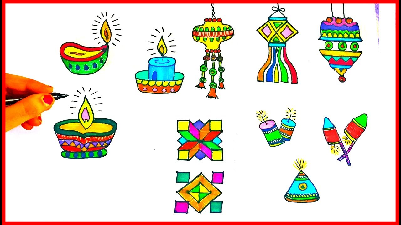 Drawing Diyas, Rangoli, Lantern Kandil, Crackers ☆ Diwali drawing ... for Diwali Lantern Drawing  166kxo