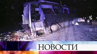 В Красноярском крае рейсовый автобус столкнулся с грузовиком.