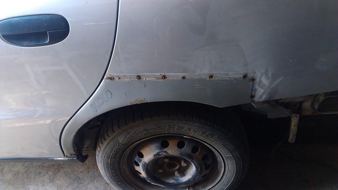 Daewoo Lanos ремонт заднего подкрыльника и арки крыла