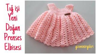 Tığ işi yeni doğan prenses elbisesi