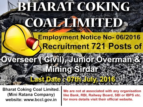 BCCL Recruitment   721 Post   Overseer, Mining Sirdar,Jobs