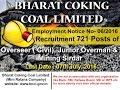 BCCL Recruitment   721 Post   Overseer, Mining Sirdar,Jobs