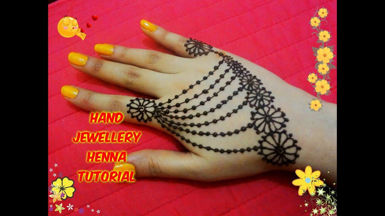 How to apply beautiful jewellery ornamental henna mehndi designs for hands tutorial eid 2017 - Beautiful dizain image ...