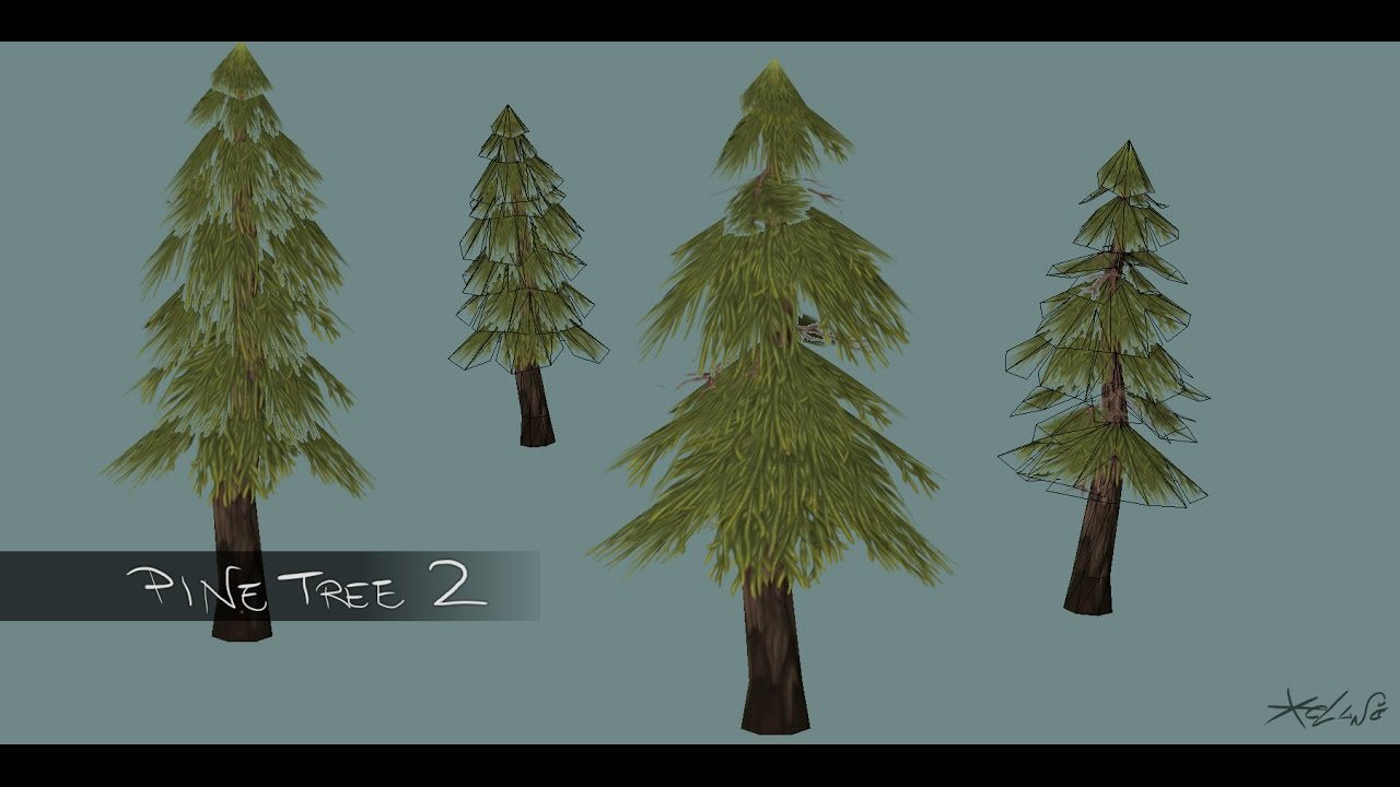 3d handpainted low poly cartoon pine version 2 youtube