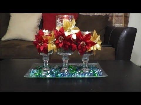 Diy centro de mesa navide o por menos de 10 dolares - Como hacer un centro de mesa navideno ...