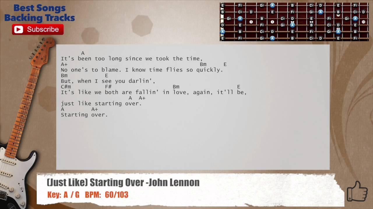 Just Like Starting Over John Lennon Guitar Backing Track With