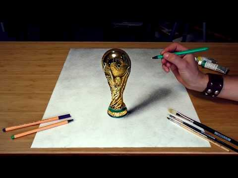 Drawing FIFA World Cup Trophy - How To Draw 3D Art