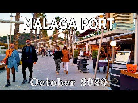Malaga Port Evening Walk, Spain - October 30th, 2020 [4K]