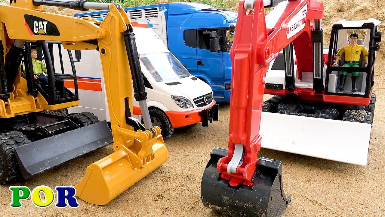 Caminhão basculante, escavadeira e caminhão brinquedos crianças vídeos