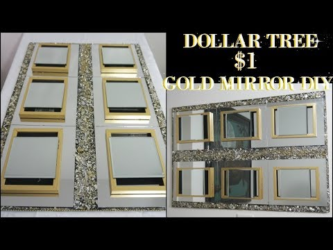 DIY DOLLAR TREE   GOLD MIRROR WALL DECOR   DIY HOME DECOR IDEA