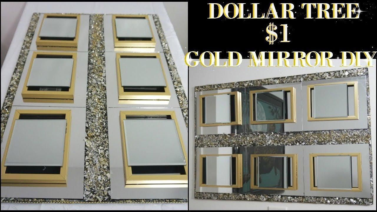 DIY DOLLAR TREE | GOLD MIRROR WALL DECOR | DIY HOME DECOR ...