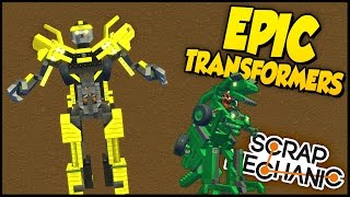 Scrap Mechanic ➤ MOST EPIC TRANSFORMERS! - Bumblebee, Helicopter, T-Rex & More!