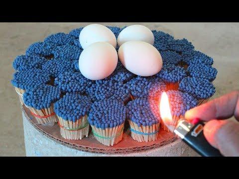 Increíble experimento! 10,000 Fósforos vs Huevos
