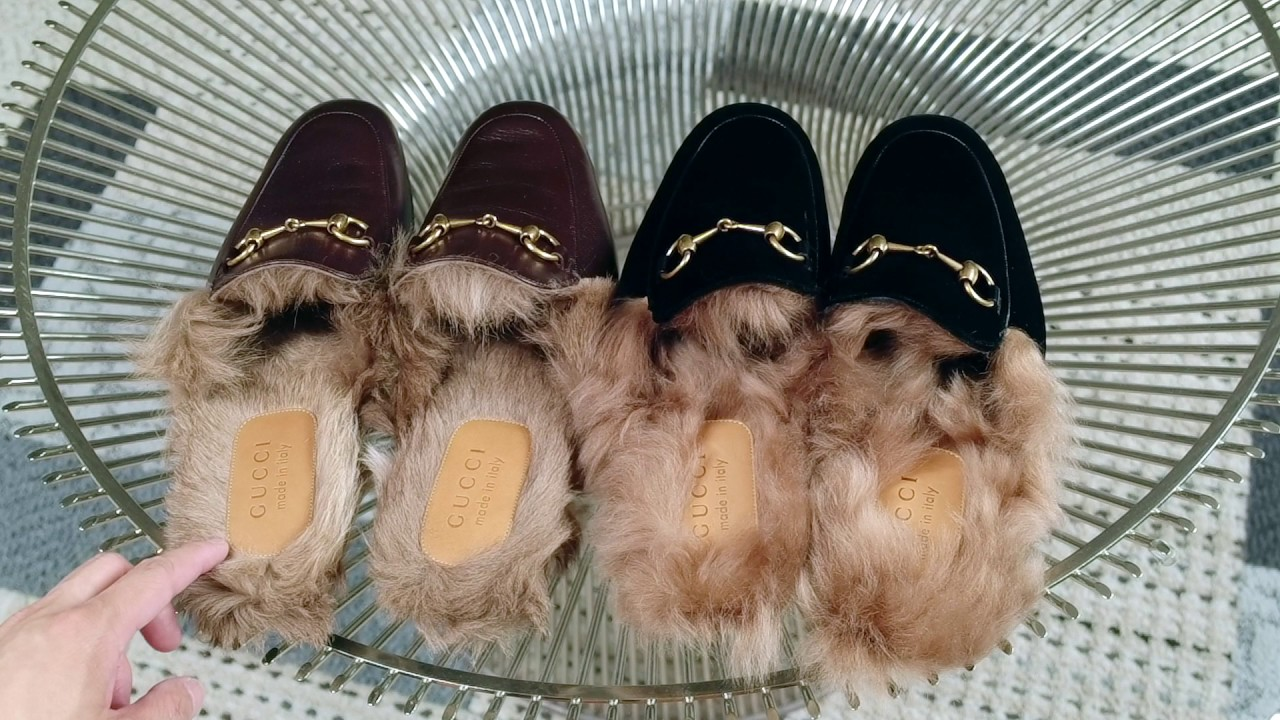 Princetown fur-lined velvet slippers Gucci