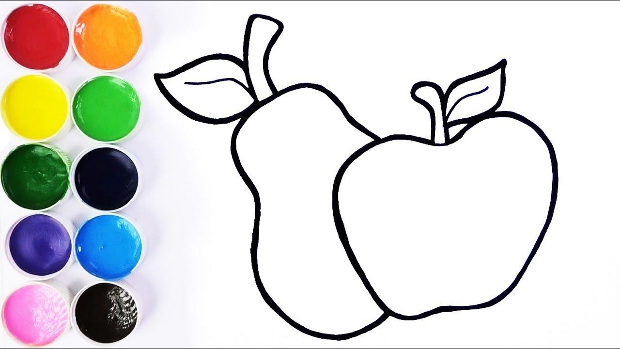 Como Dibujar Y Colorear Una Manzana Y Una Pera Dibujos Para Niños Learn Colors Funkeep