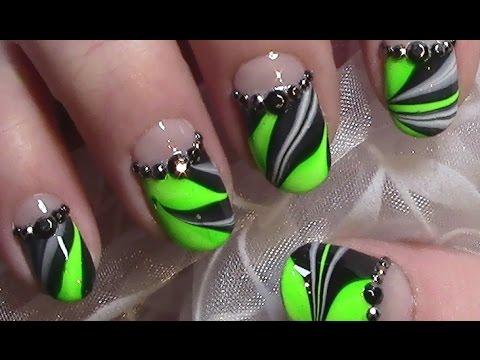 Neon Grun Water Marble Nageldesign Nail Art Design Tutorial Youtube