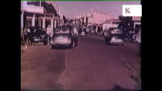 1950s Rhodesia, Africa, City Traffic, Cars, Bicycles