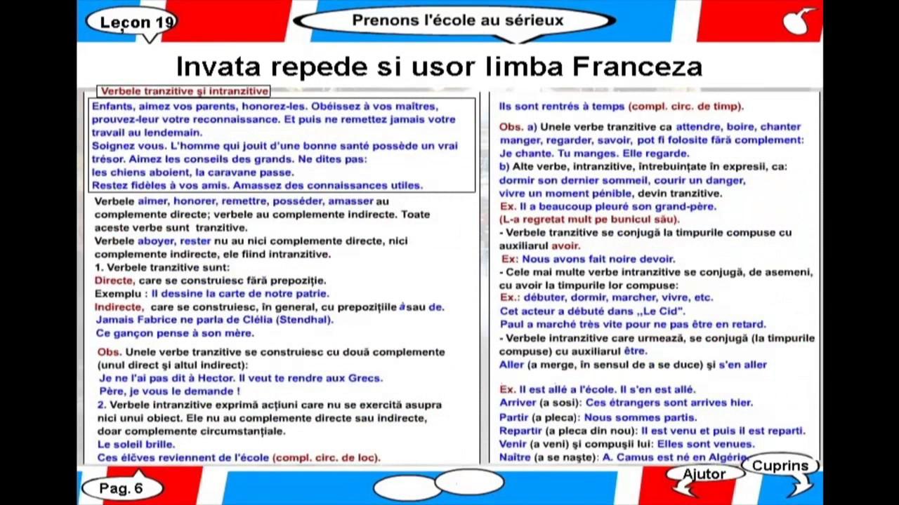 Invata repede si usor limba Franceza - Lectia 19