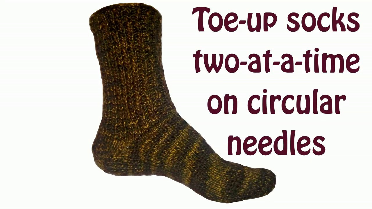 Toe up socks two at a time on circular needles Turkish cast on - YouTube