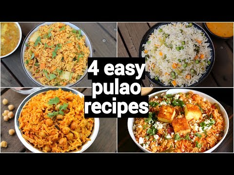 4 Easy & Quick Lunch Box Pulao Recipes | One Pot Tiffin Box Recipes | Lunch Box Rice Recipes