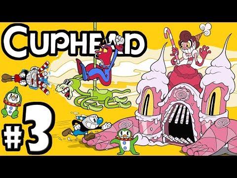 "CUPHEAD  Mugman  2 Player CoOp!  Gameplay Walkthrough PART 3: ""Rumble with Beppi & Bon Bon"""