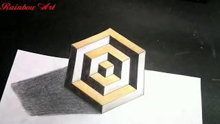 3D DRAWING | 3D TRICK ART | OPTICAL ILLUSION | RAINBOW ART