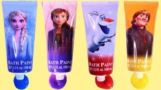 Learn Colors with Frozen 2 Bath Time Finger Paint Play Set with Anna & Elsa