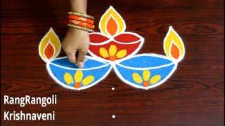 RangRangoli Krishnaveni:5*1 dots Diwali Special Rangoli Design  Deepavali Muggulu Lotus Deepam Kolam