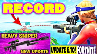 "Fortnite Longest Heavy Sniper Shot Ever "" LEGENDARY ""NEW RECORD 2018"
