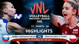Arina Fedorovtseva  vs Magdalena Stysiak | Russia vs Poland | Highlights | VNL 2021 (HD)
