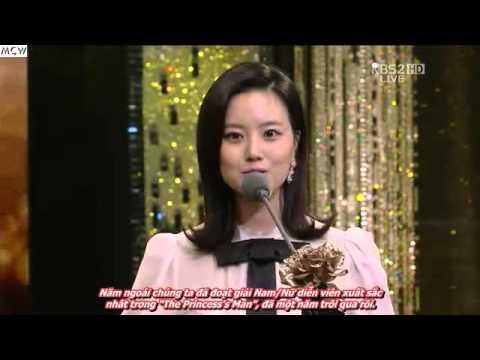 Đối thoại giữa Park Shi Hoo và Moon Chae Won trong lễ trao giải 2012 KBS Drama Awards
