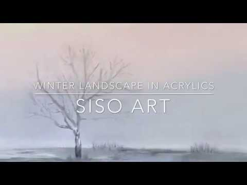 Winter landscape in acrylics