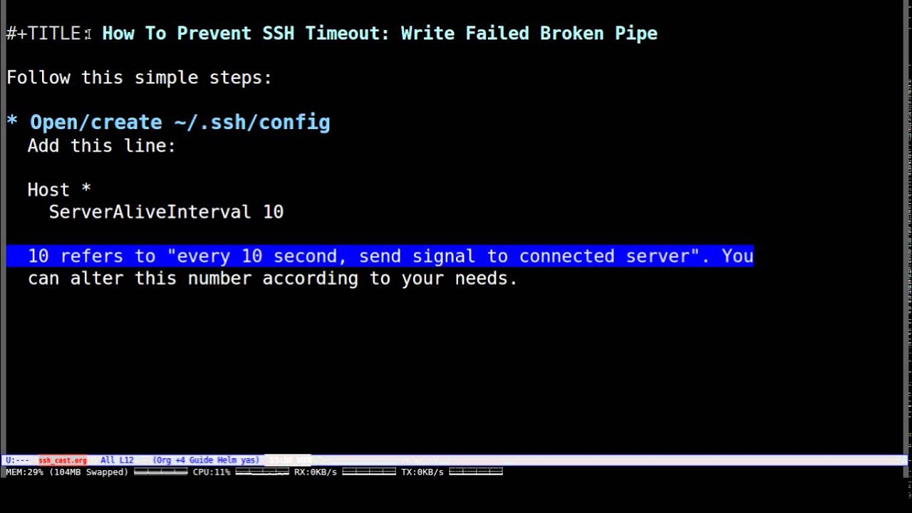 SSH Prevent Timeout - Write Failed Broken Pipe