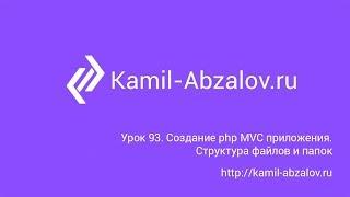 Урок 93. Создание php MVC приложения. Структура файлов и папок