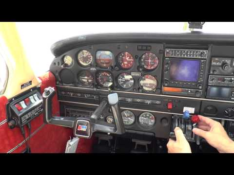 Starting a Fuel Injected Airplane PA32 301 and Demonstrating Engine idle