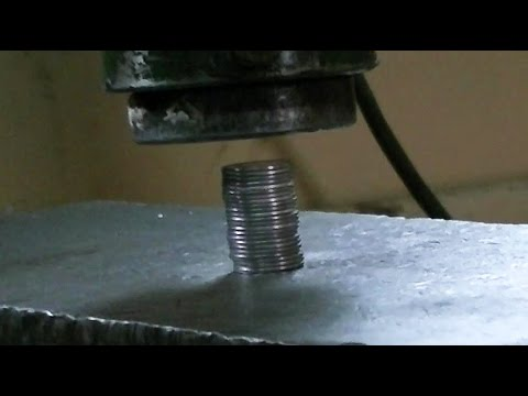 Thumbnail: Crushing coins with hydraulic press