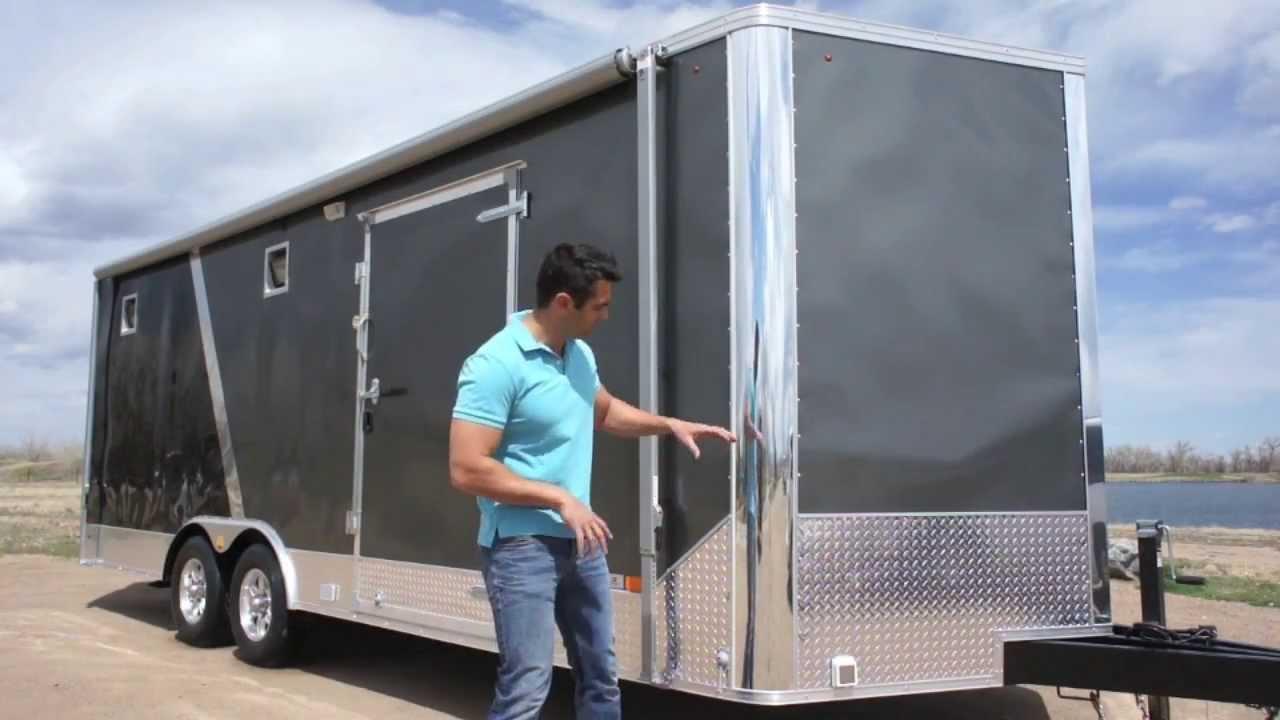 8 5 X 25 All Season Enclosed Cargo Carhauler Trailer Furnace A C Cabinets More Youtube