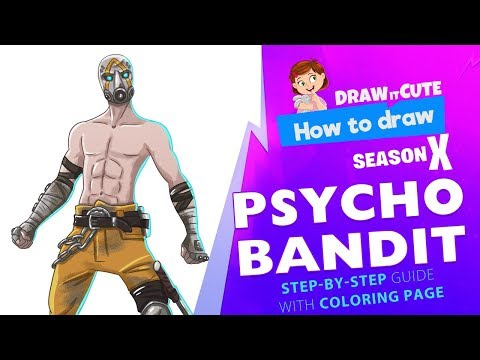 How to draw Psycho Bandit | Fortnite season 10 step-by-step skin drawing tutorial with coloring page