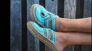 Crochet slippers- women cross strap clogs with rope soles