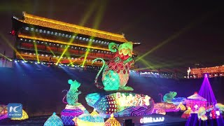Lantern fair on ancient city wall in NW China
