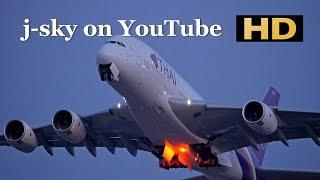 [HD] Thai Airways International Airbus A380, A330, Thai Cargo Boeing 747 at Narita Airport / 成田国際空港