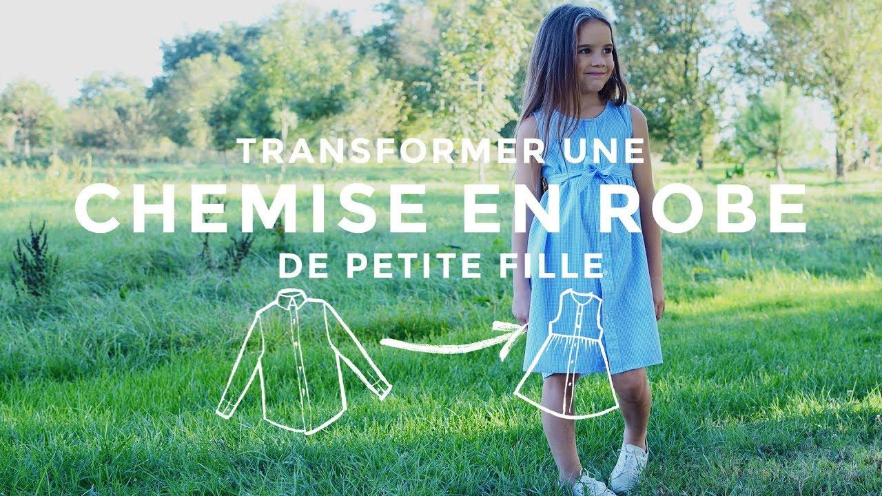 transformer une chemise en robe de petite fille youtube. Black Bedroom Furniture Sets. Home Design Ideas