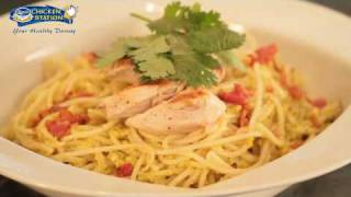 Grilled Chicken Pasta With Coriander Pesto Sauce