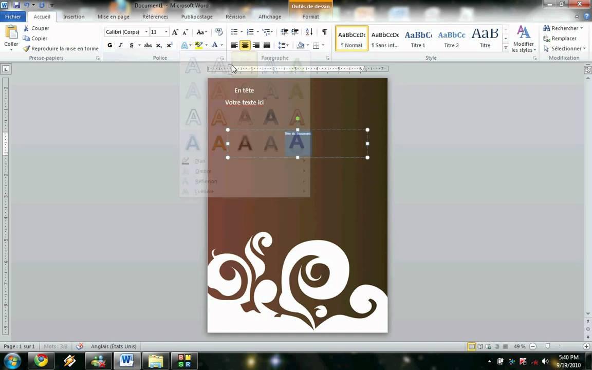 Word 2010 Comment Insérer Une Image En Page De Garde Et La Personnaliser