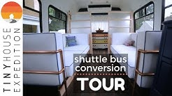 Shuttle Bus Conversion Tour: A Couple's Low-Tech DIY Tiny Home