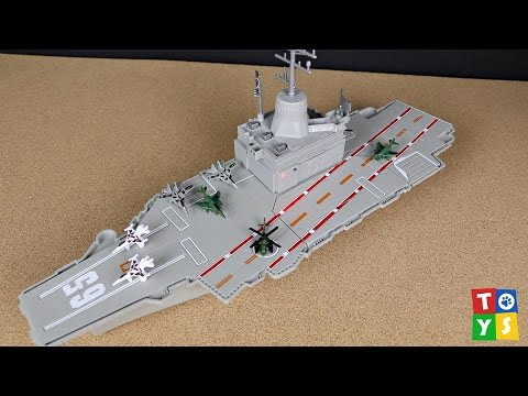 UNBOXING & PLAYING: Aircraft Carrier Destroyer Fighter Jets and Military Helicopter Playset
