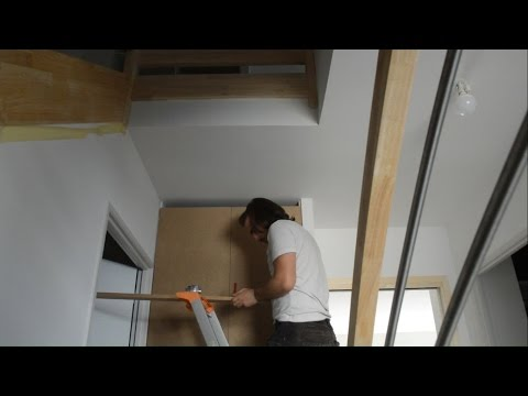 aménagement placard d'entrée partie 3 portes en MDF medium density fiberboard charnières invisibles