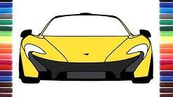 How to draw a car McLaren P1 front view super sport car