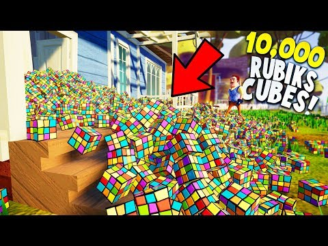 I PUT 10,000 RUBIKS CUBES IN MY NEIGHBORS FRONT YARD! | Hello Neighbor Prank The Neighbor