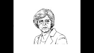 How to draw Theresa May face pencil drawing step by step